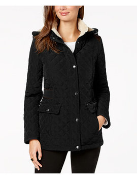 Petite Fleece Lined Hooded Quilted Coat by Laundry By Shelli Segal