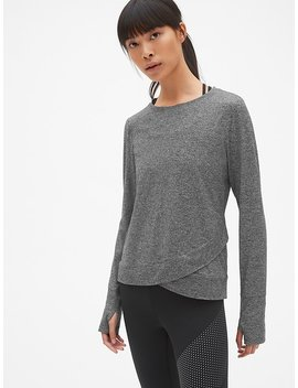Gap Fit Long Sleeve Tulip Front Top In Brushed Tech Jersey by Gap
