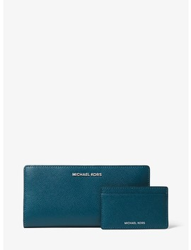 Large Crossgrain Leather Slim Wallet by Michael Michael Kors