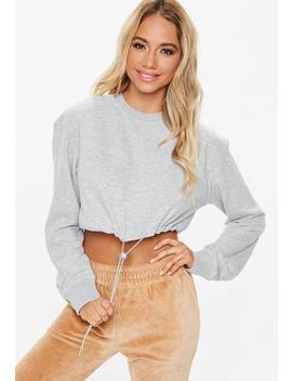 Grey Cropped Toggle Sweatshirt by Missguided