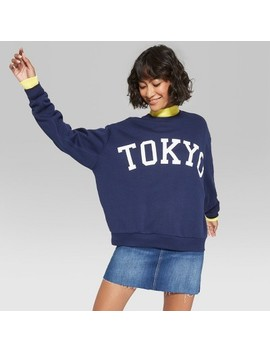 Women's Oversized Crew Neck Pullover Sweatshirt Graphic Tokyo   Wild Fable™ Oxford Blue by Wild Fable™