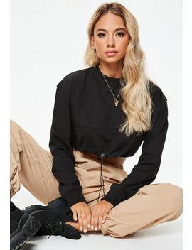 Black Cropped Toggle Sweatshirt by Missguided