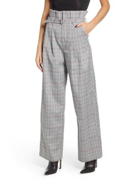 High Waist Plaid Pants by English Factory
