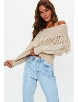 Camel Bardot Cable Knit Jumper by Missguided