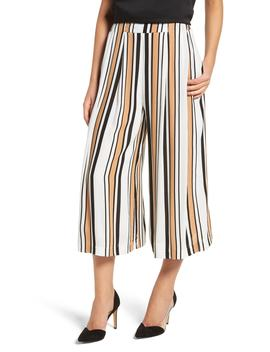 Riviera Stripe Crop Wide Leg Pants by Lira Clothing