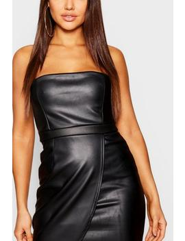 Pu Bandeau Wrap Mini Dress by Boohoo