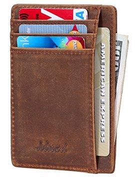 Kinzd Slim Leather Rfid Blocking Front Pocket Wallet Credit Card Holder (Crazyhorse Khaki) by Kinzd