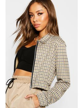 Heritage Check Cropped Bomber by Boohoo