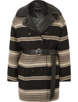 Hilda Belted Striped Wool Blend Coat by Isabel Marant