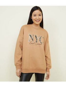 Camel Leopard Nyc Print Oversized Sweatshirt by New Look