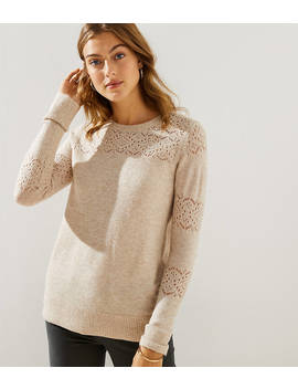 Petite Lacy Pointelle Sweater by Loft