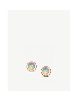 Icon Nova Mini 14ct Rose Gold And Opal Stud Earrings by Astley Clarke