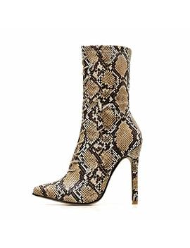 Clearance Boots Sunday77 Warm Thin Heels Pointed Toe High Heel Print Snakeskin Ladies Winter Adults Comfort Casual Shoes Martin Boots For Women by Sunday Women's Boots