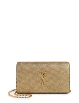 Kate Crinkled Metallic Leather Wallet On A Chain by Saint Laurent