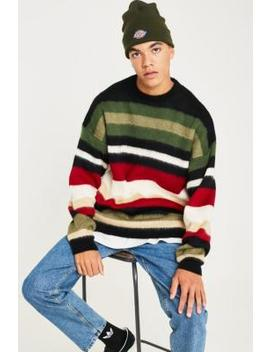 Uo Brushed Stripe Red, White And Green Knit Jumper by Urban Outfitters