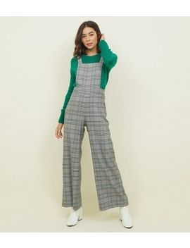 Light Grey Prince Of Wales Check Dungarees by New Look