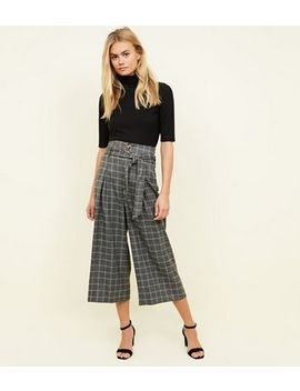 Grey Check Tie Cropped Trousers by New Look