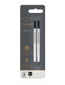 Parker Rollerball Pen Refill Medium Nib Black, Pack Of 2 by Parker
