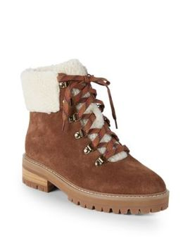 Myra Faux Fur Trim Suede Hiking Boots by Renvy