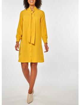 Ochre Pussybow Collar Shirt Dress by Dorothy Perkins