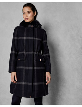 Faux Fur Hood Checked Wool Parka by Ted Baker