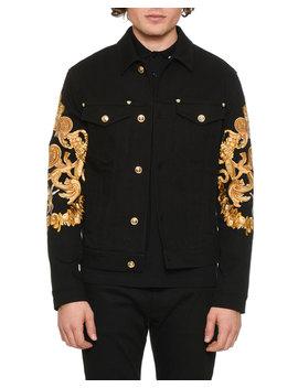 Men's Baroque Print Denim Jacket by Versace