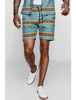 Aztec Print Drawstring Short by Boohoo