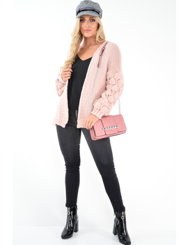 Pink Chunky Knit Oversized Cardigan   Eaden by Rebellious Fashion