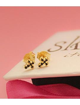 Tiny Black Cross Dainty Punk Crystal Stud Earrings 18 K Gold With Shiny Gemstones by Etsy