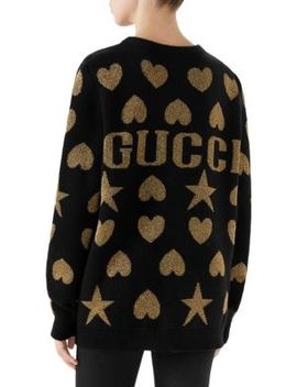 Wool Lurex Jacquard Gucci Back Sweater by Gucci