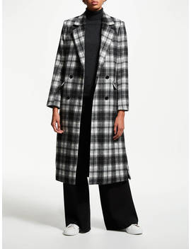 John Lewis & Partners Double Breasted Coat, Grey Check by John Lewis & Partners