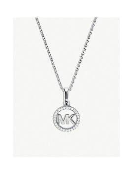 Custom Kors Monogram Pave Embellished Silver Necklace by Michael Kors