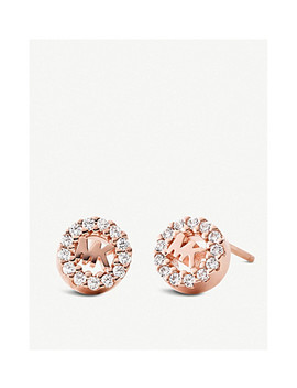 Round Monogram Rose Gold Plated And Pave Embellishment Stud Earrings by Michael Kors