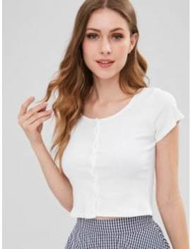 Ribbed Button Up Crop Top   White S by Zaful