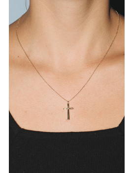 Thin Gold Cross Charm Necklace by Brandy Melville