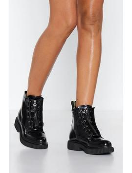 Keep It Zipped Patent Boot by Nasty Gal
