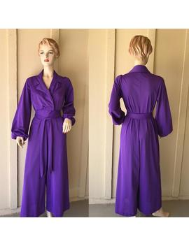 1970 Vintage Jumpsuit ~ Purple Nylon Fabric, Long Puffy Sleeves, Vanity Fair, Attached Belt Wraps Around And Ties, Great Quality & Condition by Etsy