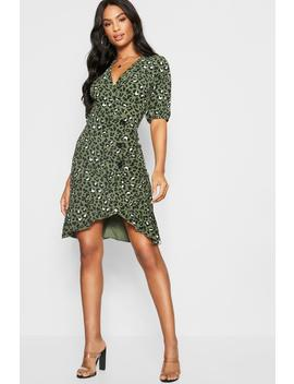 Tall Leopard Print Mock Horn Button Wrap Dress by Boohoo