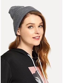 Plain Beanie Hat by Sheinside