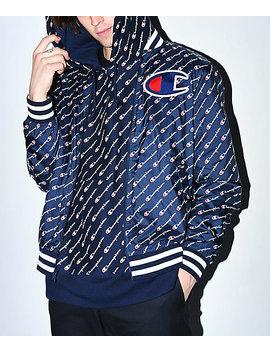 Champion Satin Navy Baseball Jacket by Champion