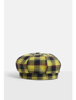 Yellow Check Print Beret by Missguided
