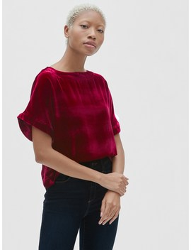 Velvet Ruffle Sleeve T Shirt by Gap