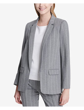 One Button Pinstriped Blazer by Calvin Klein