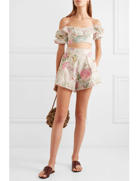 Heathers Floral Print Broderie Anglaise Cotton Shorts by Zimmermann