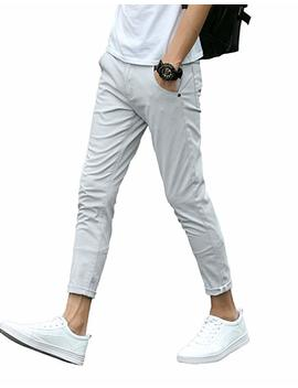 Plaid&Plain Men's Slim Fit Stretch Casual Khaki Pants Cropped Chinos Flood Pants by Plaid&Plain