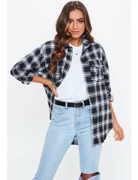 Tall Black Basic Plaid Shirt by Missguided