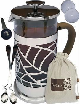 Cofina French Press Coffee Maker   34 Oz Large French Coffee Press Gift Bundle | Also Used As Tea Maker Or Cold Brew Coffee Maker | With Extra Thick Borosilicate Glass Carafe In Gift Box by Cofina