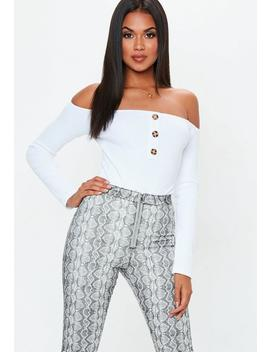 White Bardot Horn Button Bodysuit by Missguided