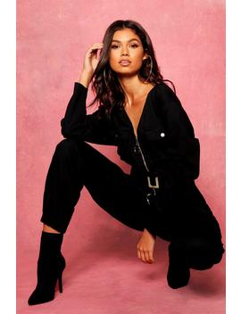Zip Through Utility Denim Jumpsuit by Boohoo