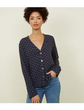Navy Geometric Print V Neck Shirt by New Look